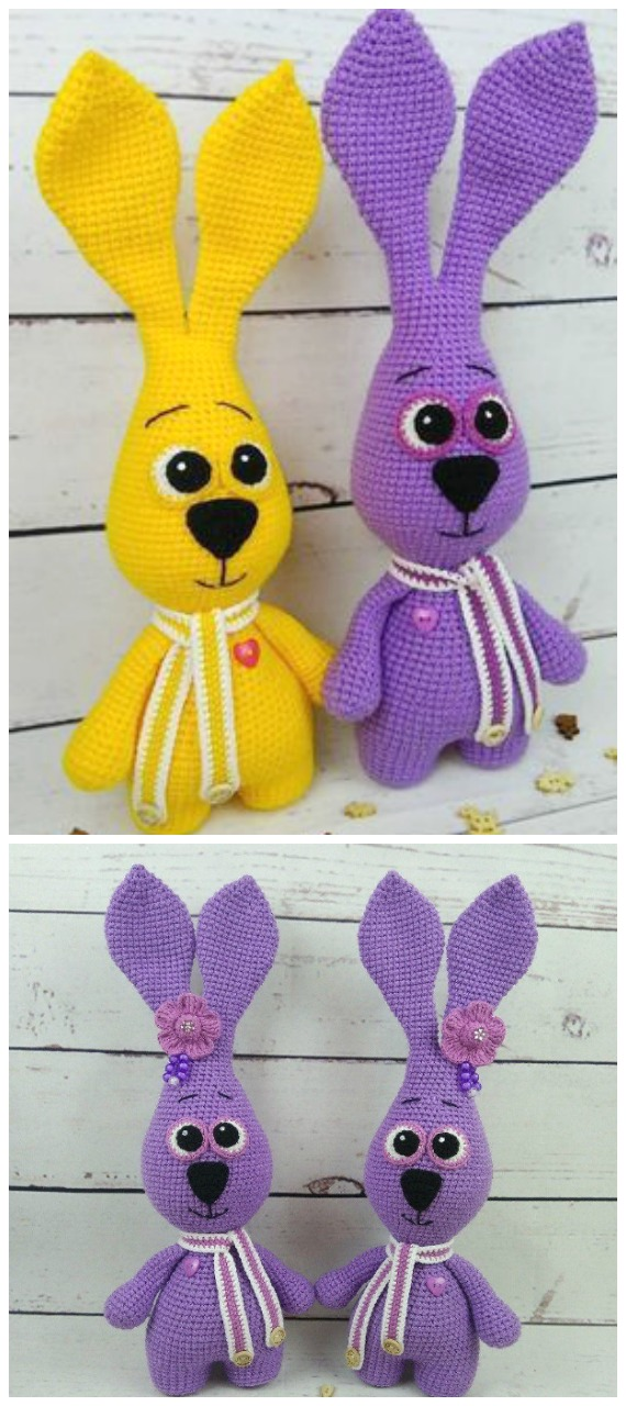 Purple Bunny Amigurum Crochet Free Pattern - #Crochet; Amigurumi #Bunny; Toy Softies Free Patterns