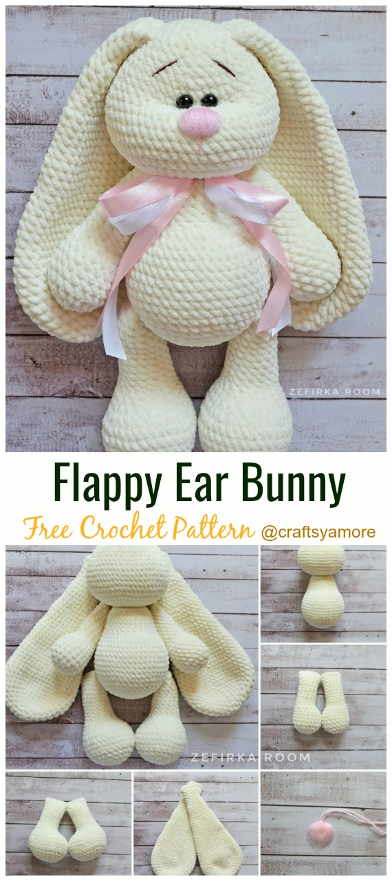 Flappy Ear Bunny Amigurum Crochet Free Pattern - #Crochet; Amigurumi #Bunny; Toy Softies Free Patterns