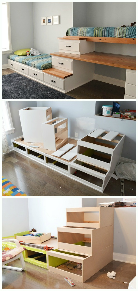 DIY Shared Boys Bedroom Instructions - DIY Space Savvy #Bed; Frame Design Concepts Instructions