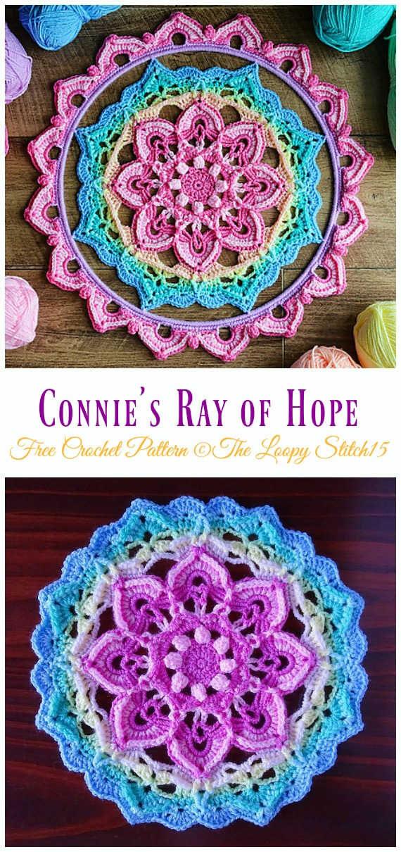 Connie's Ray of Hope Dreamcatcher Crochet Free Pattern - #Crochet #DreamCatcher Free Patterns