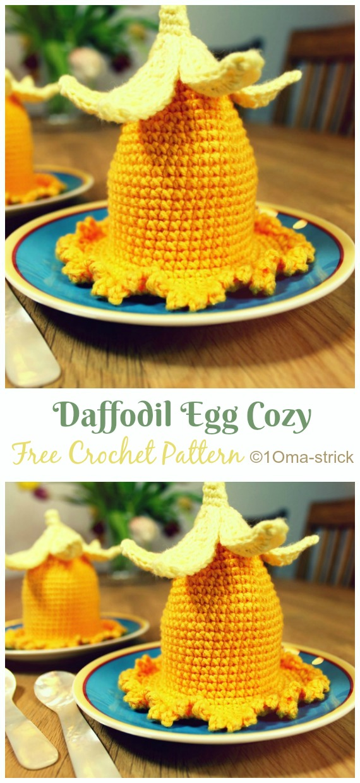 Daffodil Egg Cozy Crochet Free Pattern - #Crochet; #Easter; Egg Cozy Cover & Holder Free Patterns