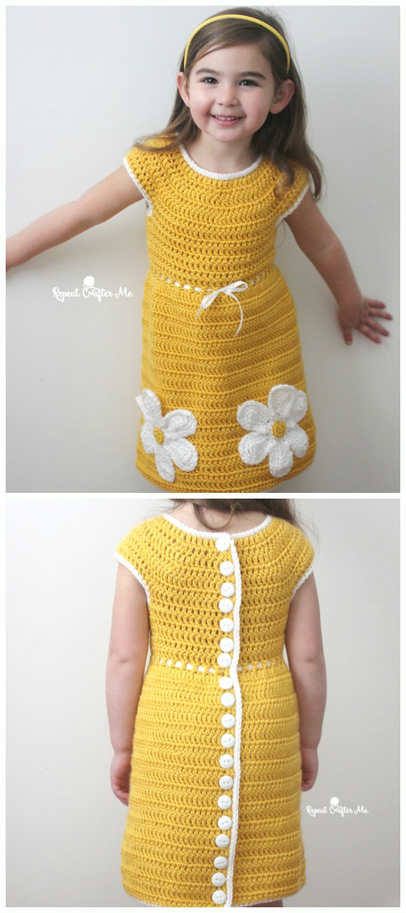 Caron Crochet Daisy Dress Free Pattern - #Crochet Girls #Dress Free Patterns