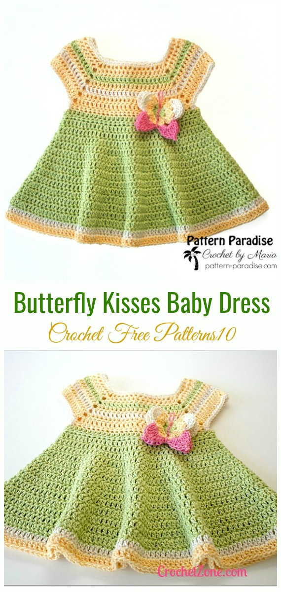 Butterfly Kisses Baby Dress Crochet Free Pattern - #Crochet Girls #Dress Free Patterns