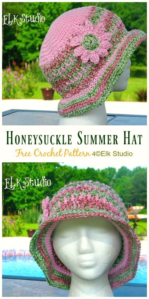 Women Honeysuckle Summer Hat Crochet Free Pattern - Women #SunHat; Free #Crochet; Patterns