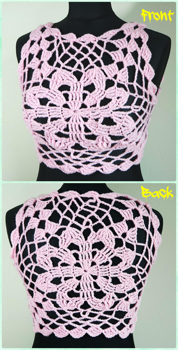 Pink Flower Halter Crop Top Crochet Free Pattern- Women #CropTop; Free #Crochet; Patterns [Summer Edition]