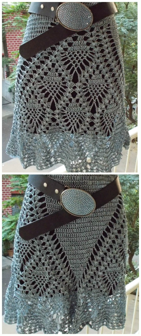 Pineapple Skirt Crochet Free Pattern - #Crochet; Women #Skirt; Free Patterns For Any Season