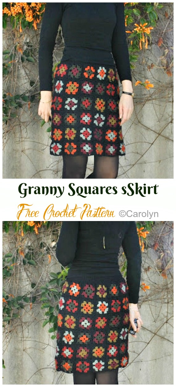 Granny Squares Skirt Crochet Free Pattern - #Crochet; Women #Skirt; Free Patterns For Any Season