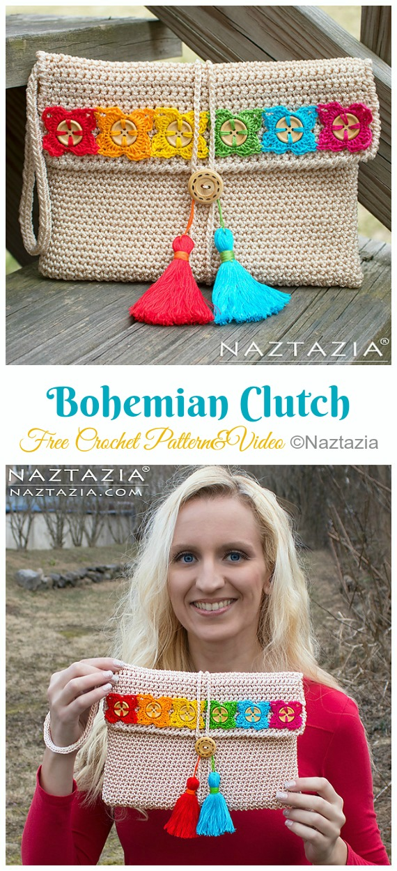 Bohemian Clutch Crochet Free Pattern- #Crochet; #Clutch; Purse Free Patterns