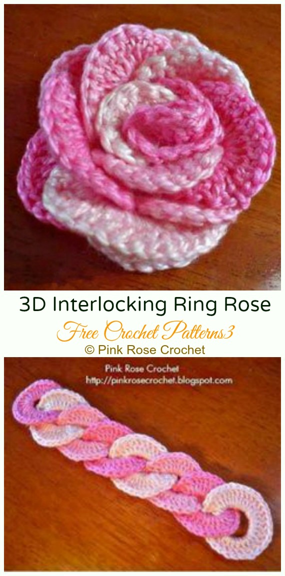 3D Interlocking Ring Rose Crochet Free Pattern - #Crochet; 3D #Rose; Flowers Free Patterns