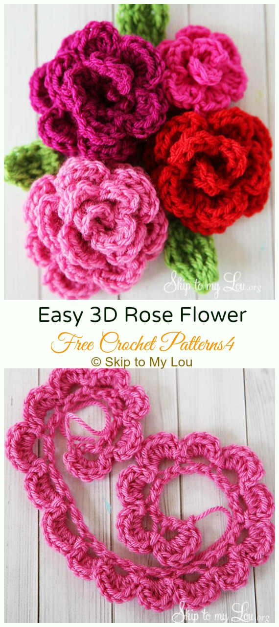 Easy 3D Rose Flower Crochet Free Pattern - #Crochet; 3D #Rose; Flowers Free Patterns