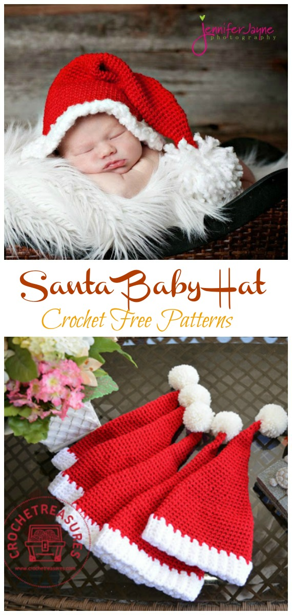 Santa Hat Crochet Free Pattern - #Crochet; #Christmas; Hat Gifts Free Patterns