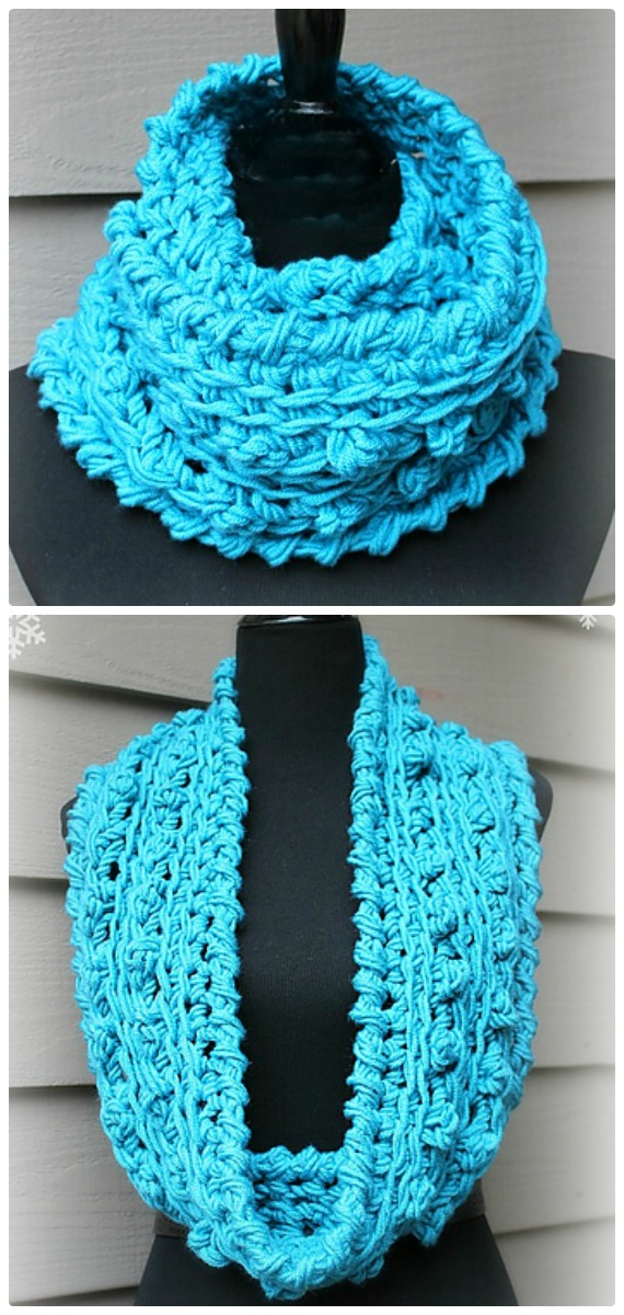 Crochet Wonderful Winter Infinity Scarf Free Pattern- Crochet Infinity #Scarf; Free Patterns