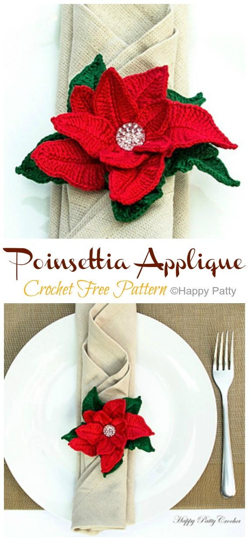 Poinsettia Applique Crochet Free Patterns - Crochet #Poinsettia; #Christmas; Flower Free Patterns