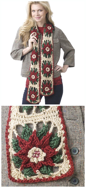 Poinsettia Scarf Crochet Free Patterns - Crochet #Poinsettia; #Christmas; Flower Free Patterns