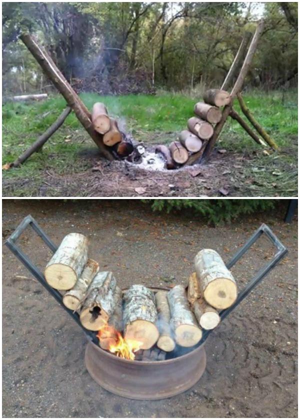 Overnight Self Feeding Log Fire DIY Instructions - Raw Wood Logs and Stumps DIY Ideas Projects
