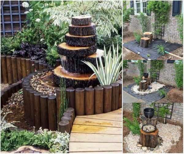 DIY Wood Log Fountain - Raw Wood Logs and Stumps DIY Ideas Projects