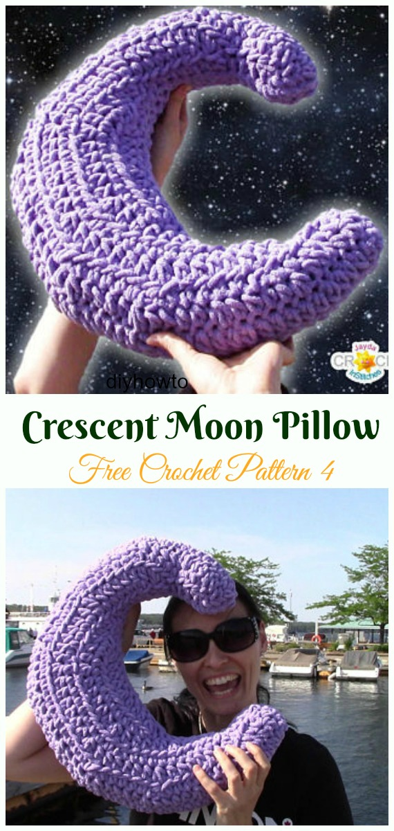 Crochet Big Fluffy Crescent Moon Pillow Free Pattern Video - #Crochet; Travel Neck #Pillow; Patterns Tutorials