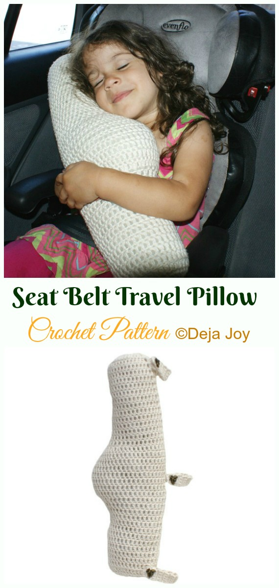 Seat Belt Travel Pillow Crochet Paid Pattern- #Crochet; Travel Neck #Pillow; Patterns Tutorials