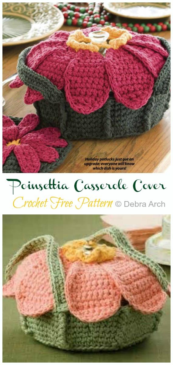 Crochet Poinsettia Casserole Cover and Potholder Free Pattern - #Crochet; #Casserole; Carrier Free Patterns