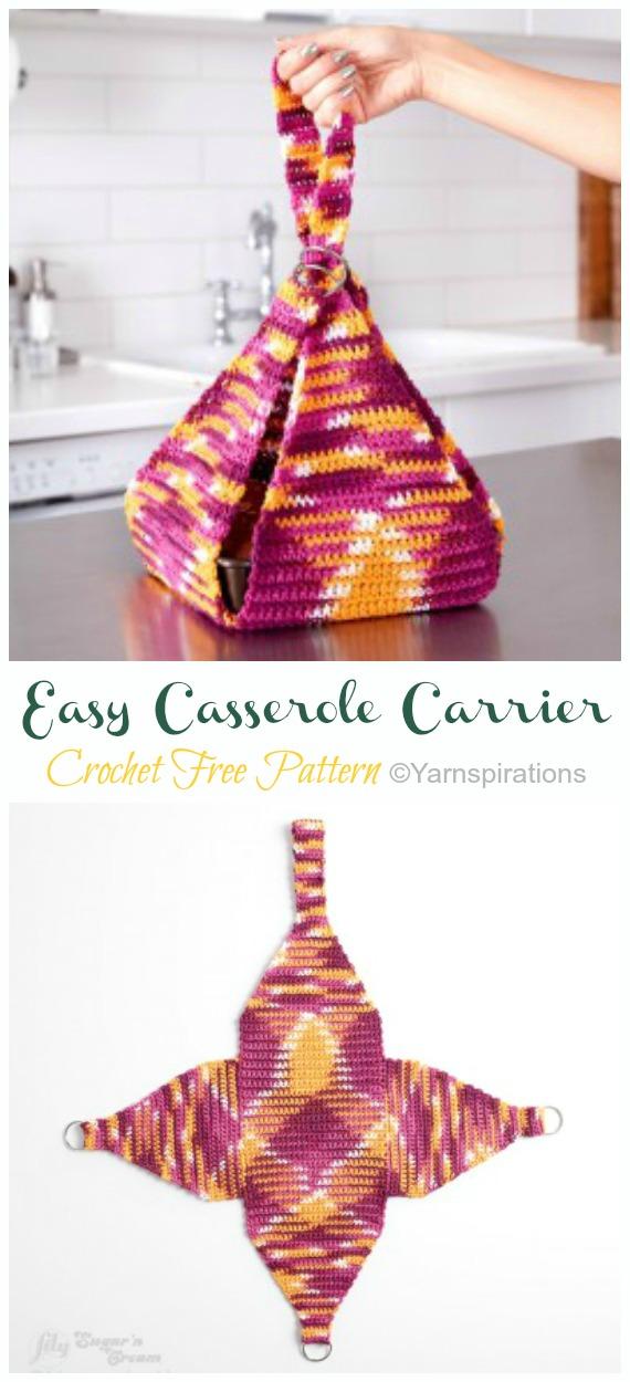 Easy Crochet Casserole Carrier Free Pattern - #Crochet; #Casserole; Carrier Free Patterns