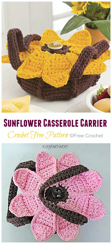Crochet Sunflower Casserole Carrier Free Pattern - #Crochet; #Casserole; Carrier Free Patterns