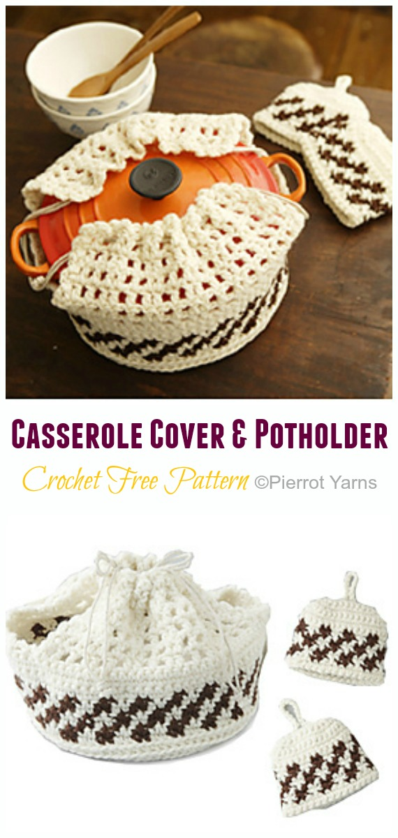 Crochet Casserole Cover and Potholder Free Pattern - #Crochet; #Casserole; Carrier Free Patterns
