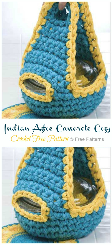 Crochet Indian Aztec Casserole Cozy Free Pattern - #Crochet; #Casserole; Carrier Free Patterns