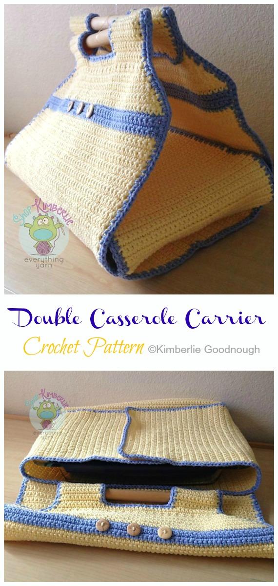 Crochet DoubleCasserole Carrier Paid Pattern - #Casserole; Carrier  #Crochet; Patterns