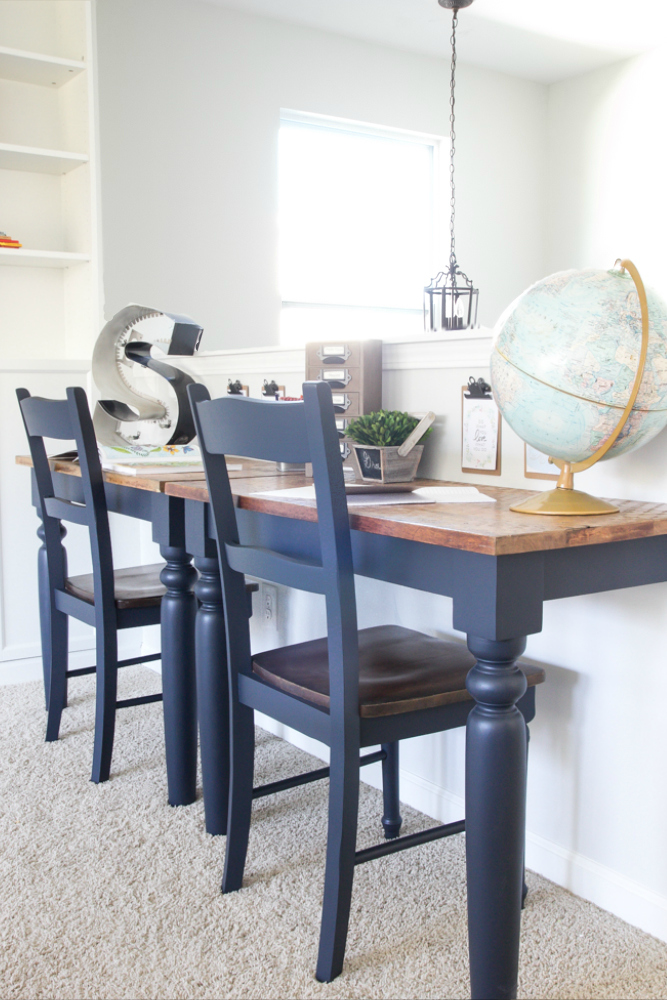 DIY Repurposed Kitchen Table Wall-Mounted Desks Tutorial - DIY Wall Mounted Desk Free Plans & Instructions