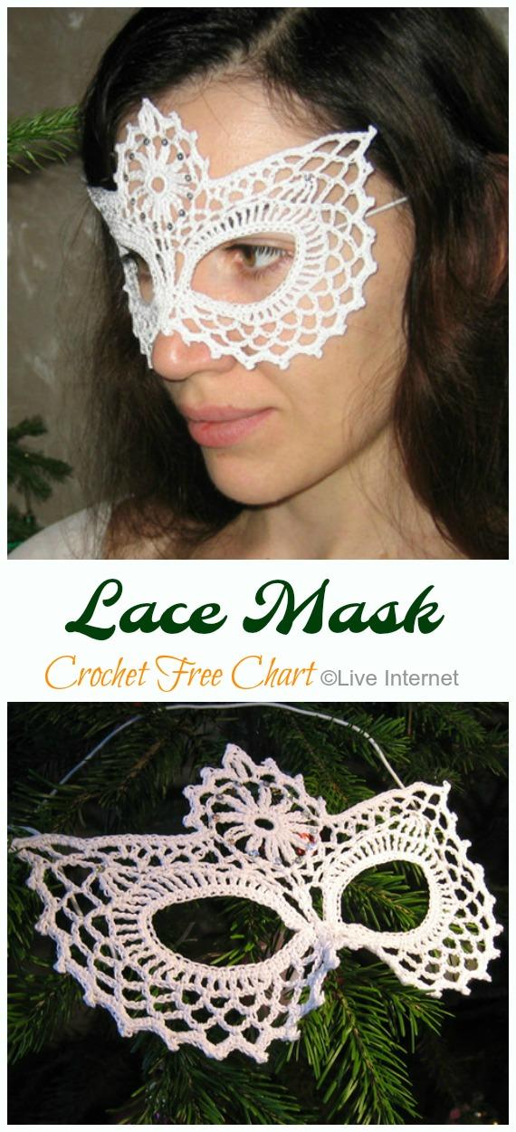 Lace Masquerade Mask Crochet Free Chart - Masquerade Eye #Mask; Free #Crochet; Patterns