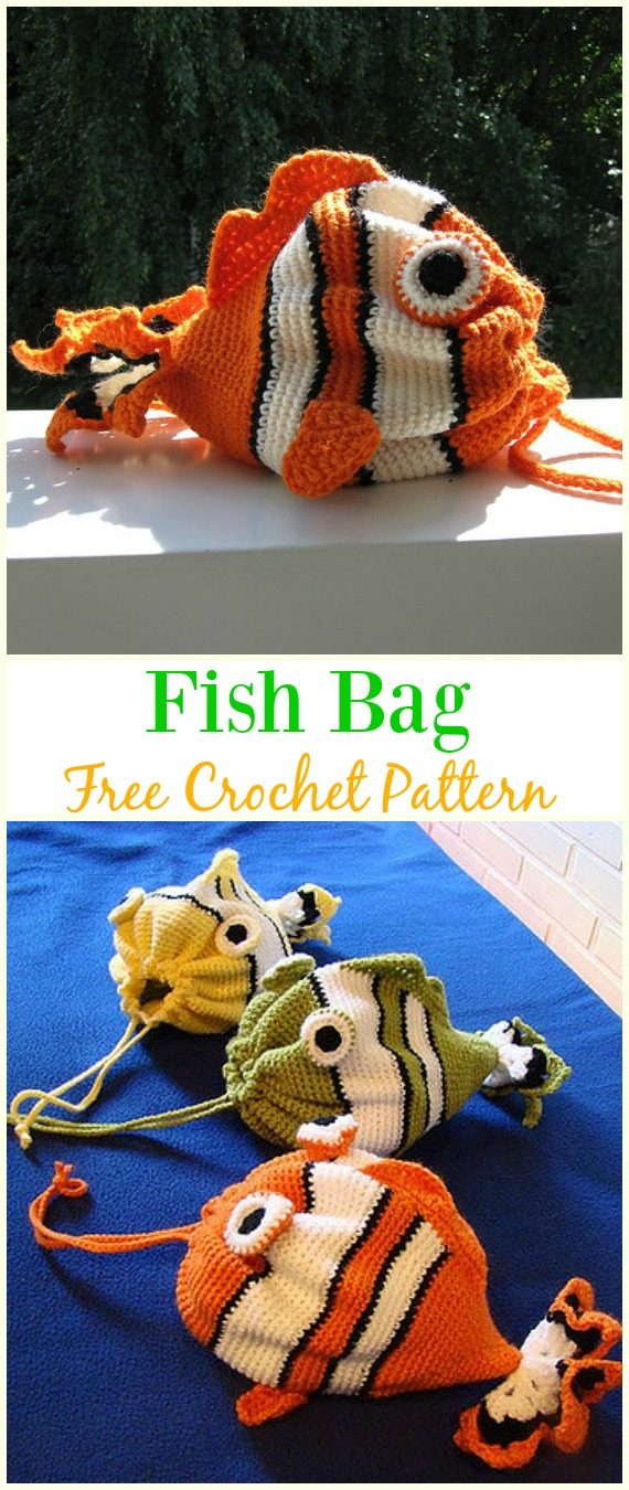 Fish Bag Free Crochet Pattern - #Crochet Drawstring #Bags Free Patterns