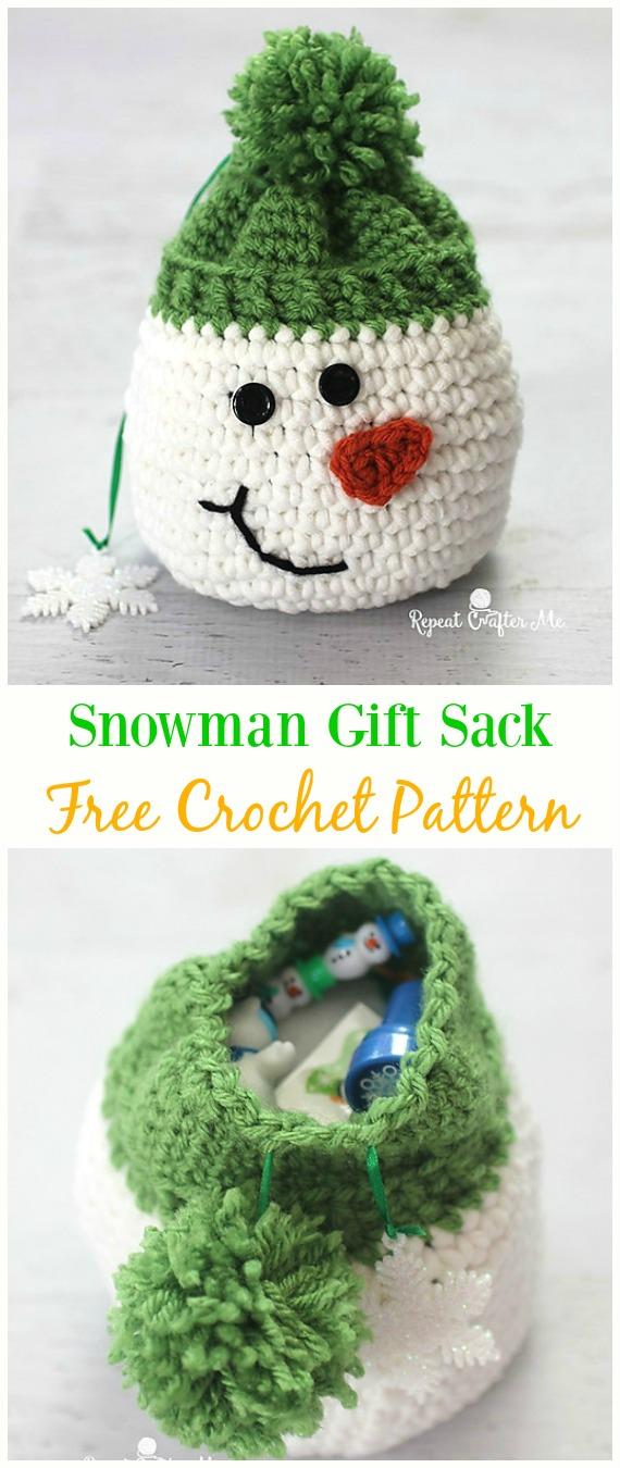 Snowman Gift Sack Bag Free Crochet Pattern -#Crochet Drawstring #Bags Free Patterns