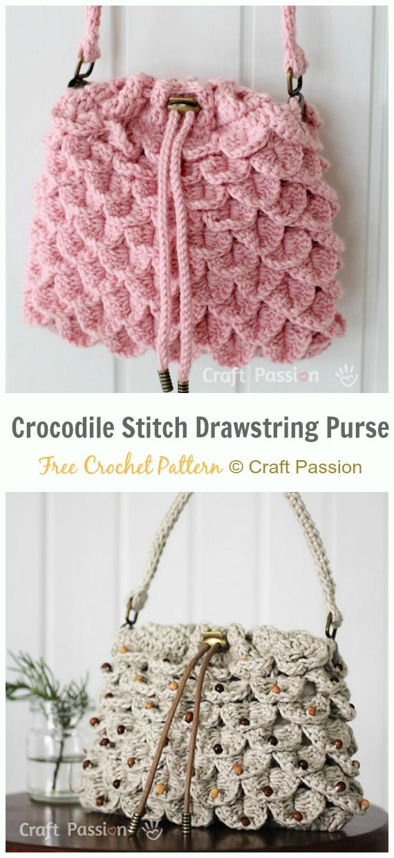 Crocodile Stitch Drawstring Purse Free Crochet Pattern -#Crochet Drawstring #Bags Free Patterns