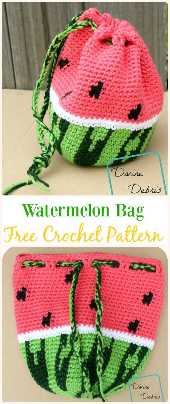 Wonderful Watermelon Bag Free Crochet Pattern -#Crochet Drawstring #Bags Free Patterns