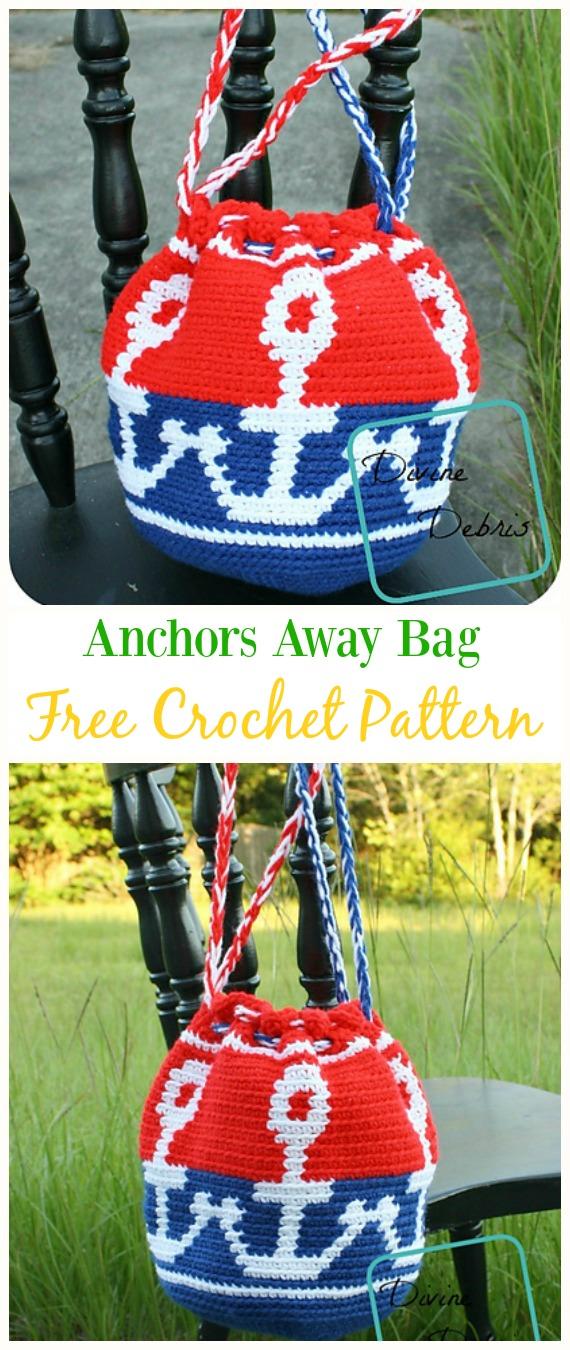 Anchors Away Bag Free Crochet Pattern -#Crochet Drawstring #Bags Free Patterns