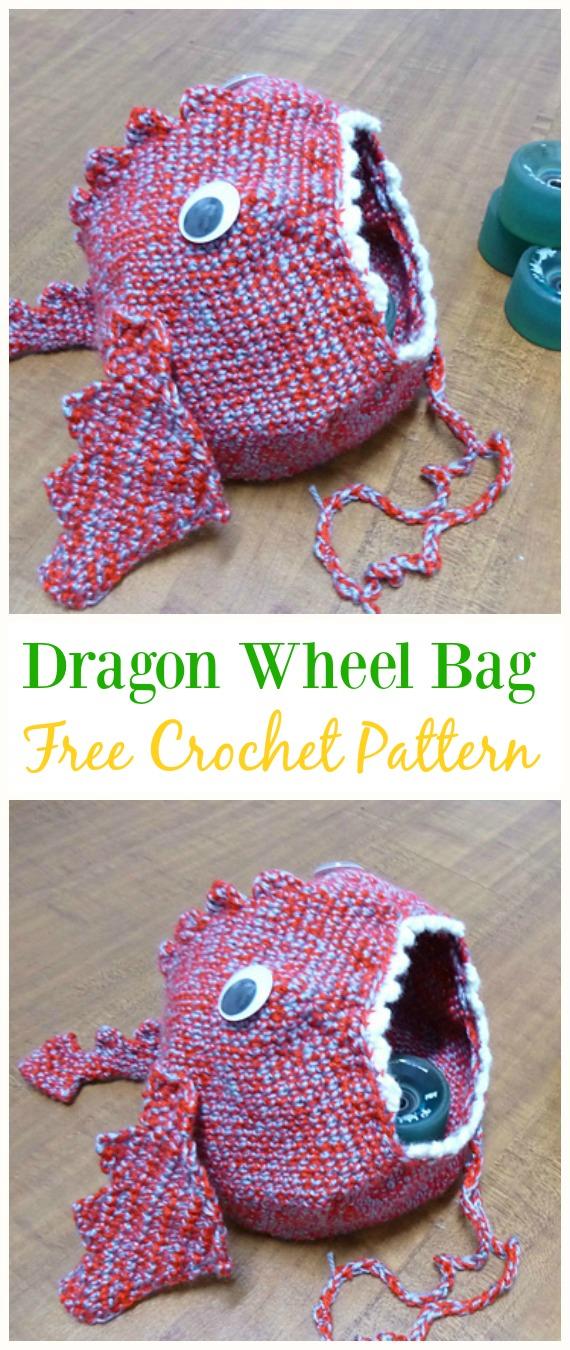 Dragon Wheel Bag Free Crochet Pattern -#Crochet Drawstring #Bags Free Patterns