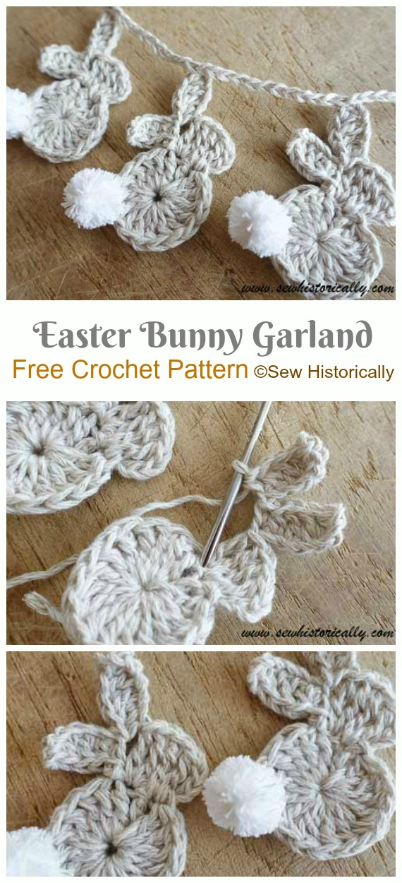 Easter Bunny Garland Crochet Free Pattern - #Crochet; Bunny #Applique; Free Patterns