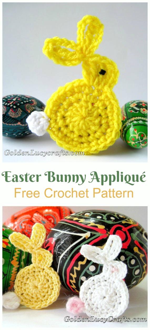 Easter Bunny Appliqué Crochet Free Pattern - #Crochet; Bunny #Applique; Free Patterns