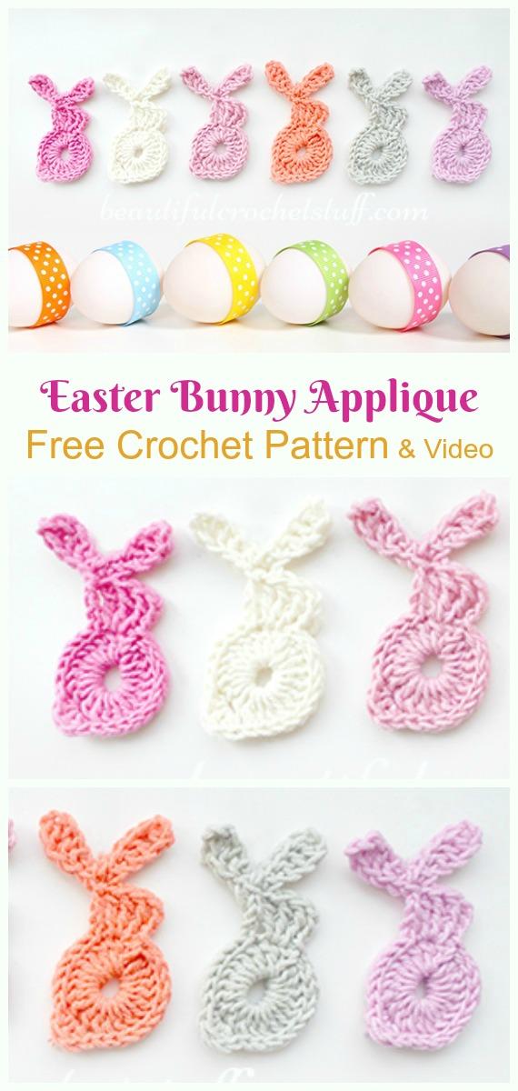 Easter Bunny Applique Crochet Free Pattern & Video - #Crochet; Bunny #Applique; Free Patterns