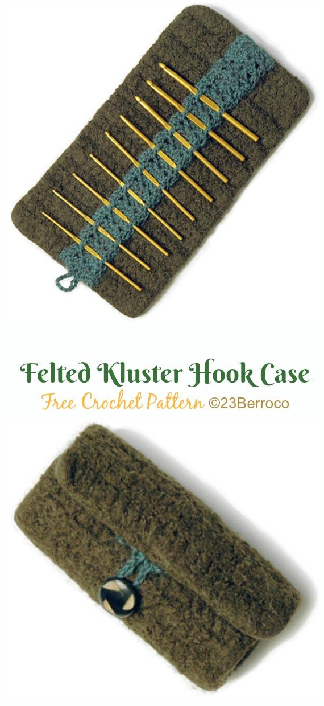 Felted Kluster Hook Case Crochet Free Pattern - #Crochet #HookCase & Holders Free Patterns