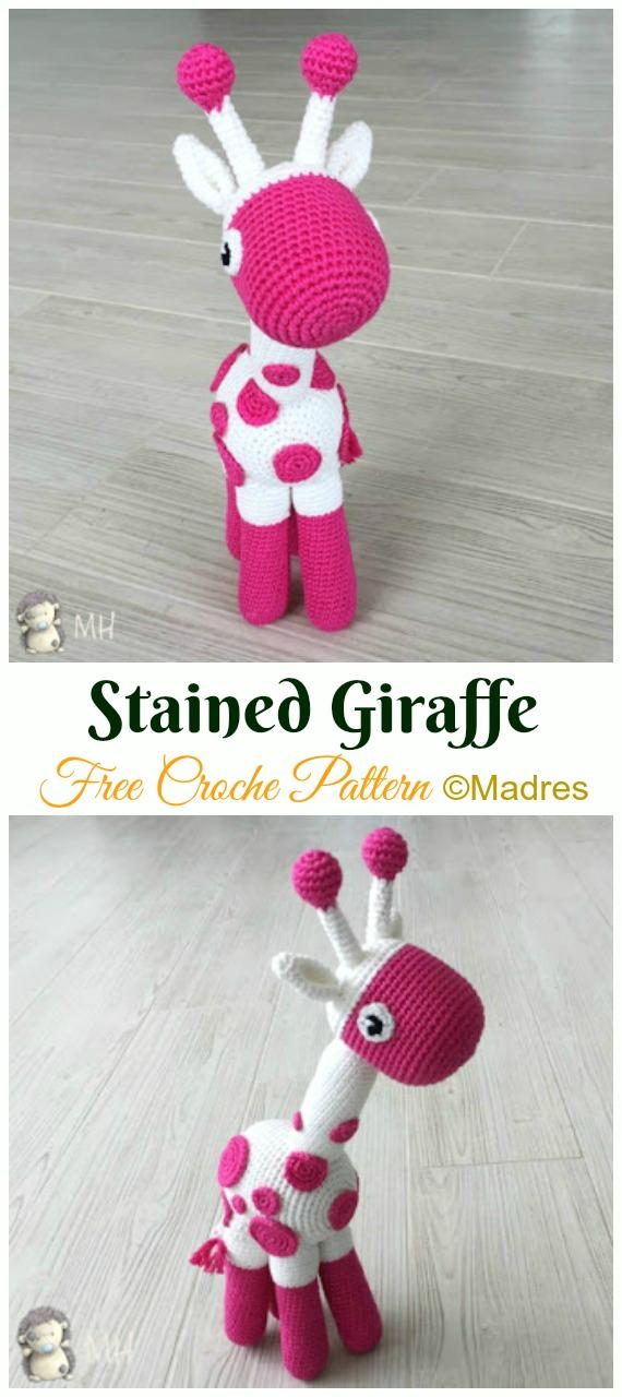 Stained Giraffe Crochet Amigurumi Free Pattern - #Amigurumi; #Giraffe; Toy Free Crochet Patterns