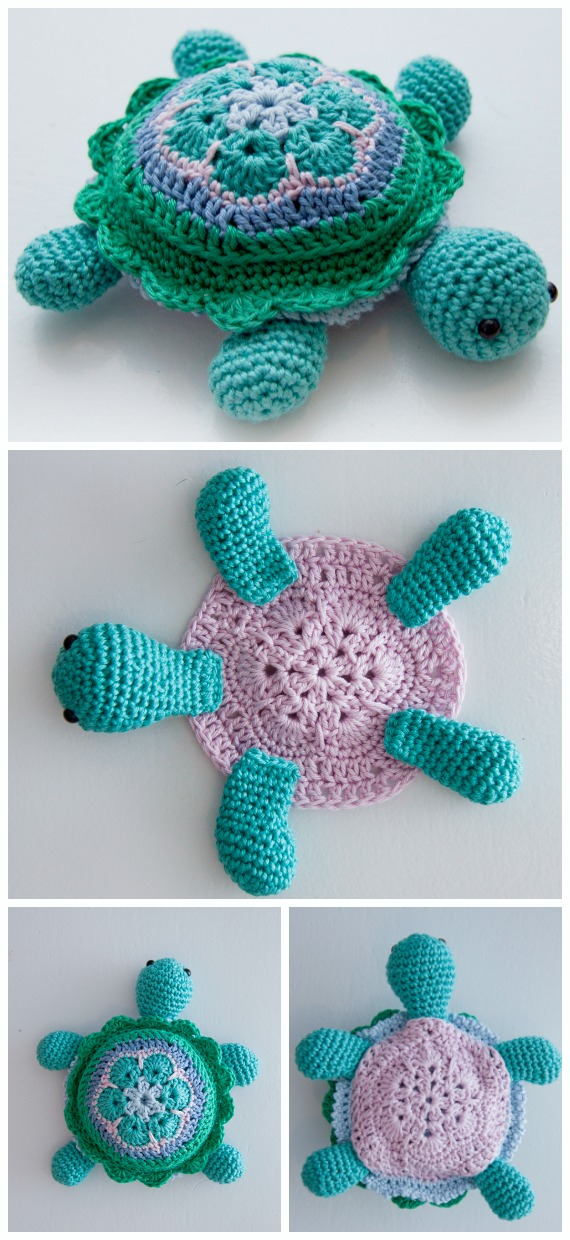 Amigurumi African Flower Turtle Crochet Free Pattern - #Crochet; #Turtle; Amigurumi Toy Softies Free Patterns
