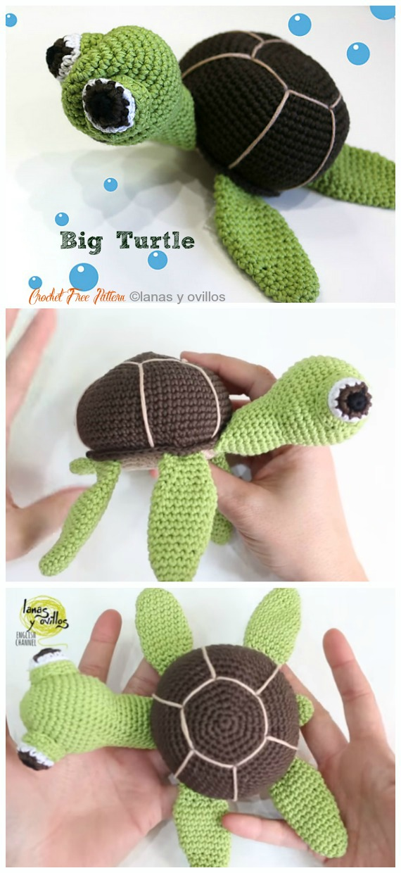 Amigurumi Big Turtle Crochet Free Pattern&Video - #Crochet; #Turtle; Amigurumi Toy Softies Free Patterns