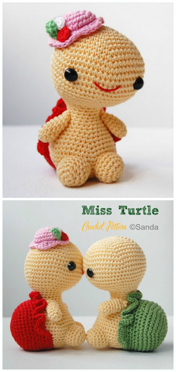 Amigurumi Miss Turtle Crochet Pattern - #Crochet; #Turtle; Amigurumi Toy Softies Patterns