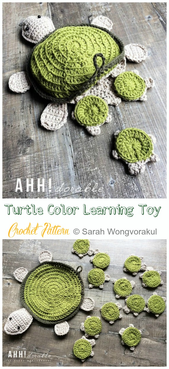 Amigurumi Turtle Color Learning Toy Crochet Pattern - #Crochet; #Turtle; Amigurumi Toy Softies Patterns