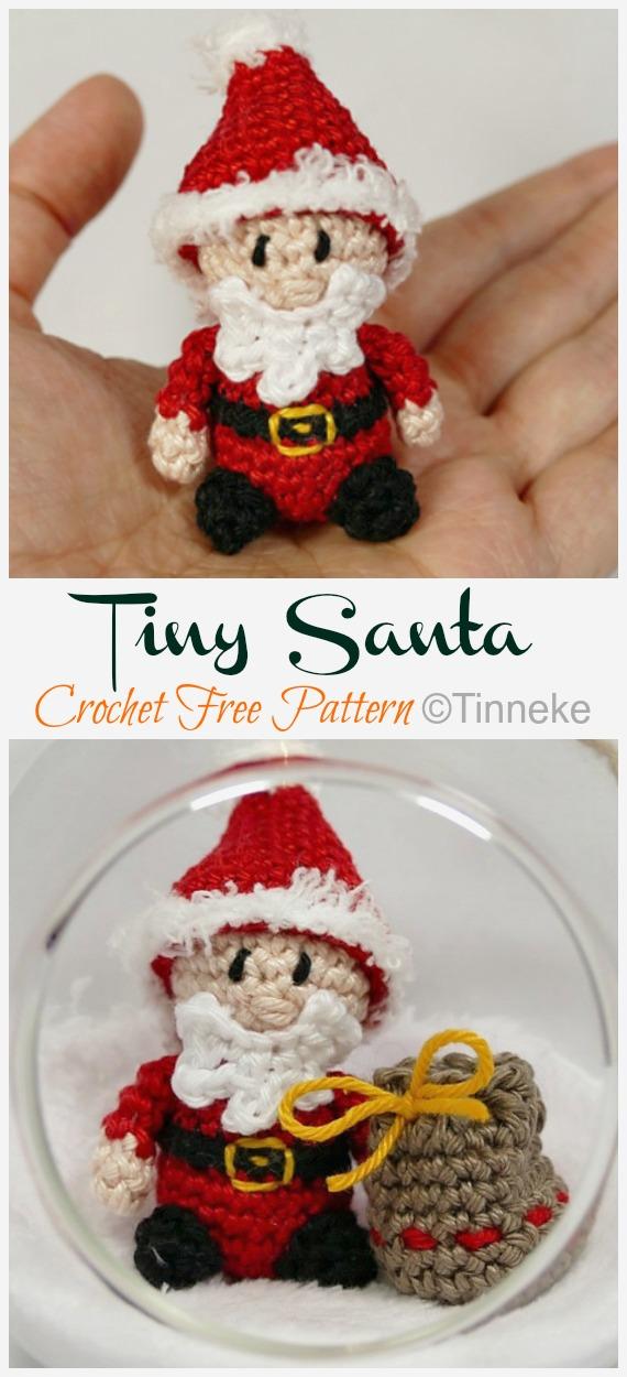 Crochet Tiny Santa Amigurumi Free Patterns - #Amigurumi; #Santa; Toy Softies Crochet Free Patterns