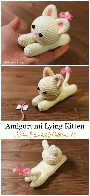 Crochet Lying Kitten Amigurumi Free Pattern - #Amigurumi; #Cat; Softies Free Crochet Patterns