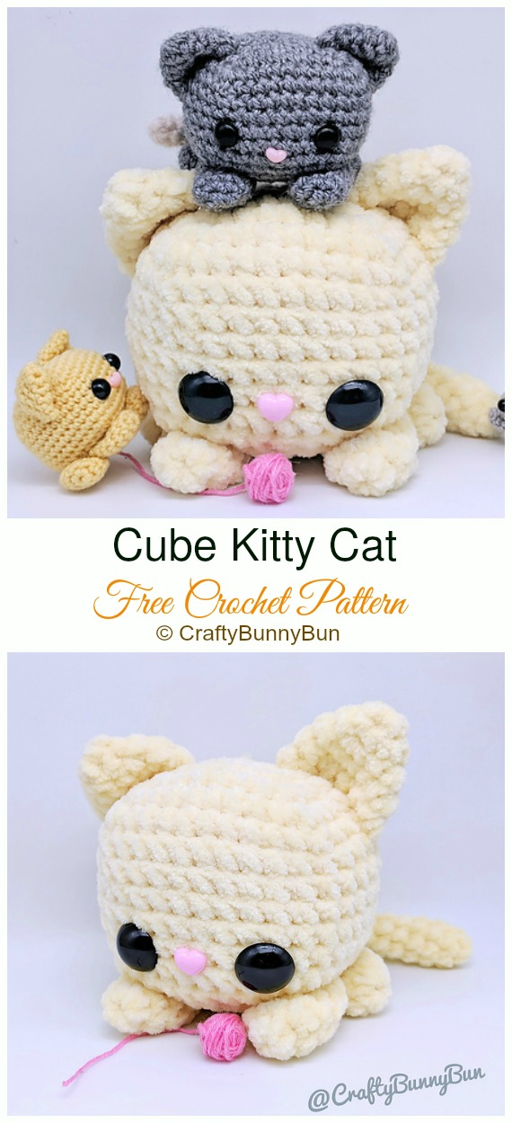 Cube Kitty Cat Crochet Amigurumi Free Pattern Amigurumi Cat