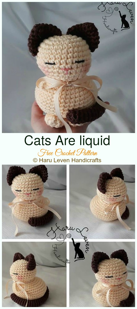Cats are liquid Crochet Amigurumi Free Pattern - #Amigurumi; #Cat; Softies Free Crochet Patterns