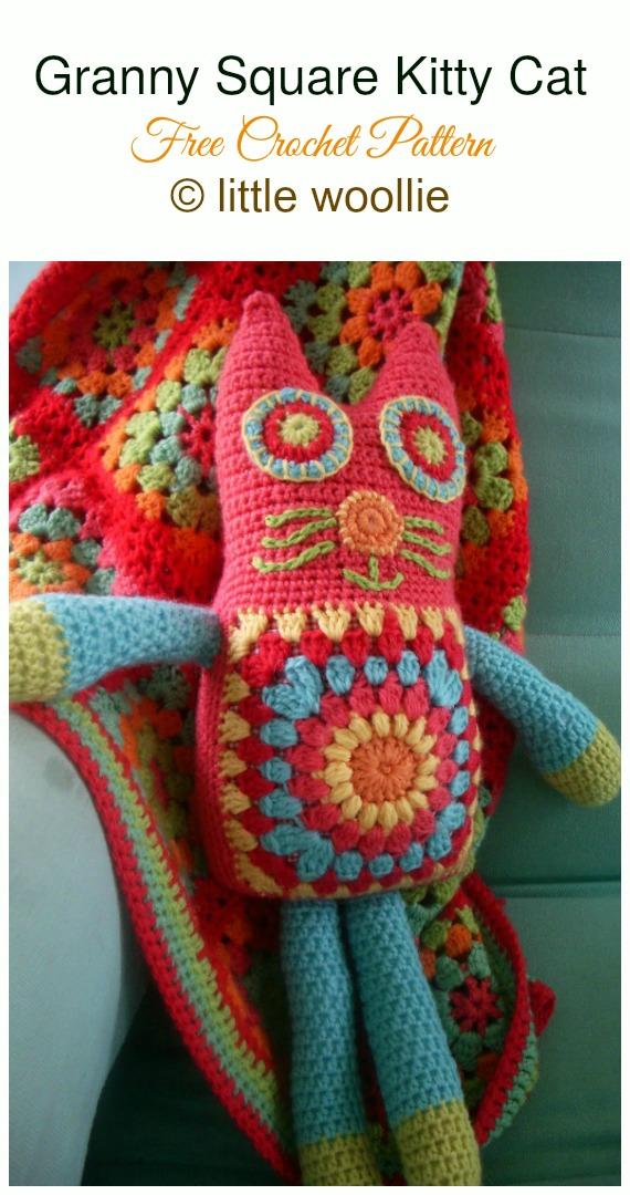Crochet Granny Square Kitty Cat Softie Amigurumi Free Pattern - #Amigurumi; #Cat; Softies Free Crochet Patterns